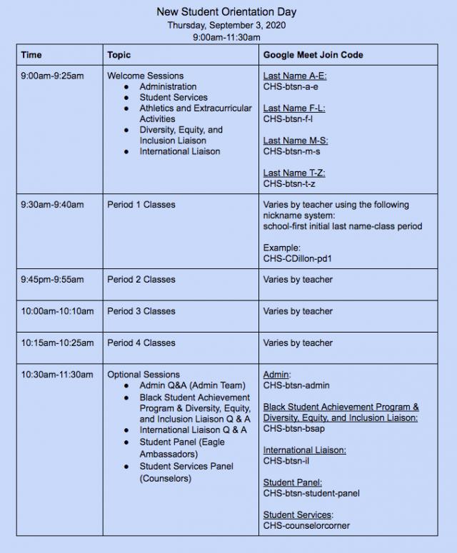 New Student Orientation Schedule