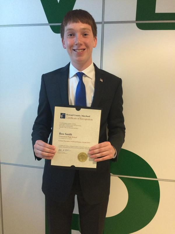 Congratulation to Ben Smith. He is the recipient of 2015 Political Science award.